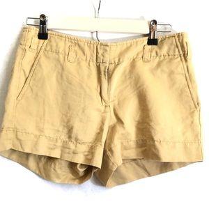J. Crew City Fit Linen Khaki Shorts